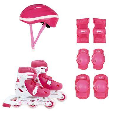 Kit-Roller-Rosa-Tamanho-P-31-34--Roller-Joelheira-e-Capacete-